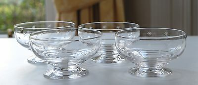 4x Vintage Stuart Crystal STAR TIME Squat Dessert Coupes/Bowls