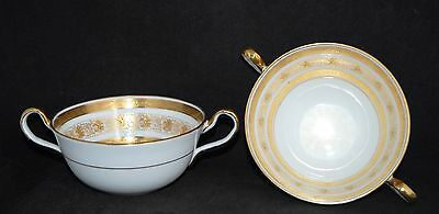 Pair of Aynsley Gold Encrusted SOLITAIRE 8206 Double Handle Soup Bowls - VGC