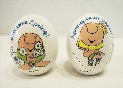 ZIGGY WELCOME SPRING & SPRING IS IN THE AIR CERAMIC EGG FIGURINE PAIR 1980's