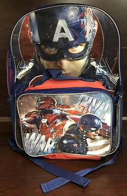 RARE NEW Captain America Iron Man Civil War Backpack with Detachable Lunchbox