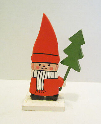 Christmas Boy W/ Tree Vintage Wood Wooden Carved Figure Sweden Red Outfit Cute