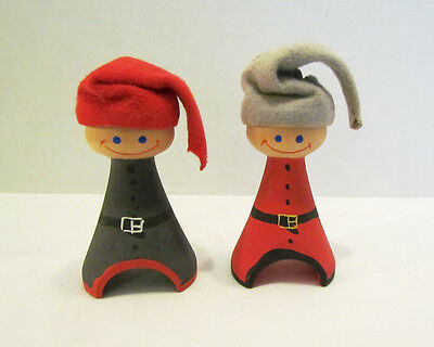 Christmas Boys W/ Stocking Hats Vintage Wood Wooden Carved Figure Pair Sweden