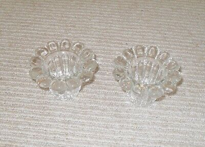 Pair of 1970's Glass Candlesticks. New and Unused