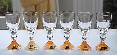 Set of 6 EISCH Crystal Tall Liqueur / Port Glasses - Lustre Base 12cm/70-80ml