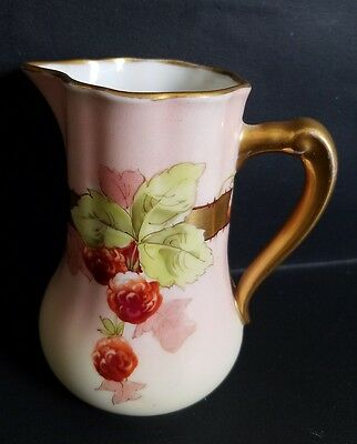 """Antique White's Art Co. Chicago Hand Painted 4.5"""" Pitcher Berries Gold Trim"""