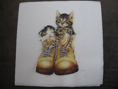 1 Serviette / napkin Katzen in Schuhen 2-lagig cats in shoes 2-ply