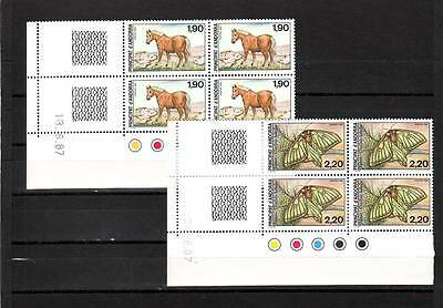 Andorra(French) - Sgf393-F394 Mnh 1987 Horse & Moth - Blocks Of 4