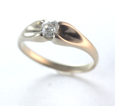 Stunning Art Deco Diamond 14k Yellow Gold Gypsy Unisex Ring Size 8