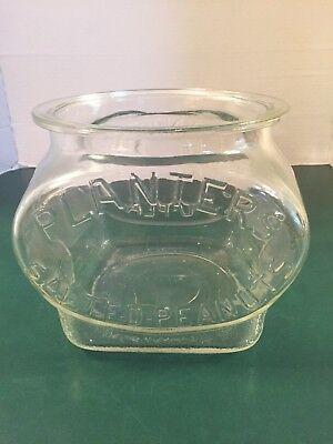VERY RARE Vintage Planters Salted Peanuts Glass Oval Jar Counter Display