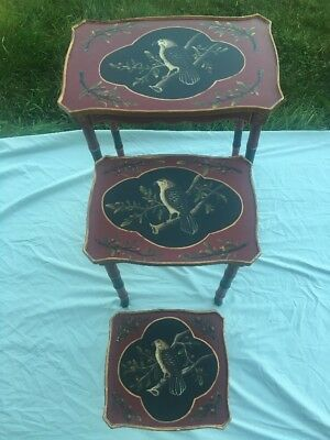Antique Vintage Hand Painted Wooden Nesting Tables Hawk Falcon Bird