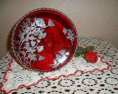 Stunning Vintage Ruby Red & Silver Overlay 3 Legged Candy Dish