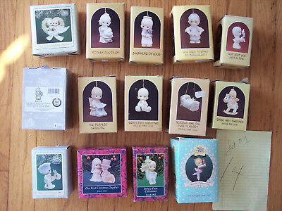 Vintage Lot #1 of 14 assorted Precious Moments Christmas Ornaments MINT w/ Boxes