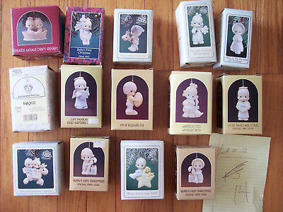 Vintage Lot #2 of 14 assorted Precious Moments Christmas Ornaments MINT w/ Boxes