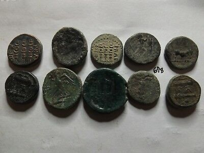 Lot of 10 Quality Uncleaned Ancient Greek Coins; 61 Grams!