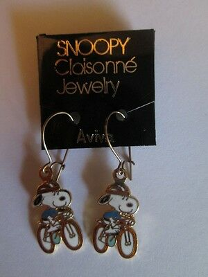 Aviva Cloisonne Snoopy Riding A Bicycle Earrings New, Mint On Card!