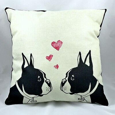 Lucy & Charlie ~ Boston Terrier Throw Pillow (With Insert)