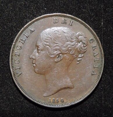 1854 Great Britain Victoria Large One Penny Copper Coin XF Extremely Fine