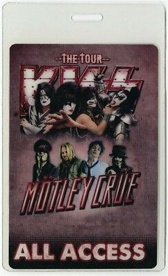 Kiss authentic 2012 concert tour Laminated Backstage Pass Motley Crue ALL ACCESS