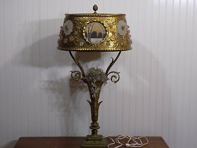 Rare Antique French Brass Lamp w Czech Glass Fruit Flowers