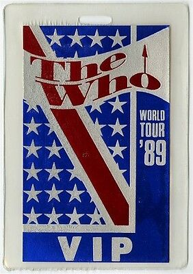 The Who authentic 1989 tour Laminate Backstage Pass Pete Townshend Roger Daltrey