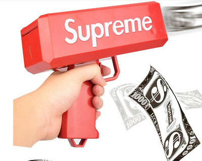 Red Supreme Cash Cannon Money Gun In Box Toy Gift 100 Papers