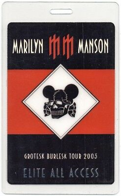 Marilyn Manson authentic 2003 Laminated Backstage Pass Grotesk Burlesk Tour