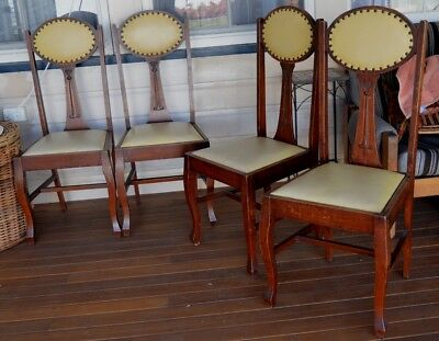 FOUR x 1920's UNIQUE Art Deco Oak and Vinyl Studded Chairs