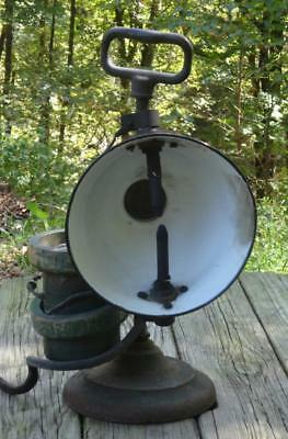 Antique 19th c Portable Carbon Arc Light Lamp Industrial Steampunk Railroad RARE
