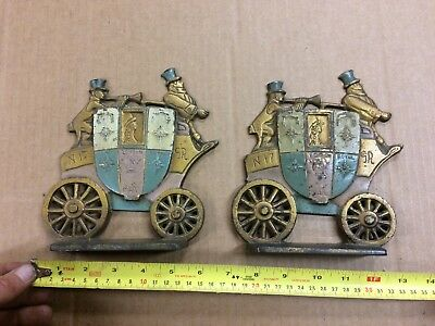 LONDON ROYAL MAIL STAGECOACH CAST IRON  BOOK ENDS N17 SR door stops?