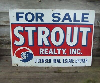 Vintage Double Sided Strout Realty Sign