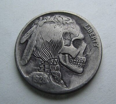 Hand Carved Hobo Nickel Coin Day of the Dead Skull by M.J. Petitdemange