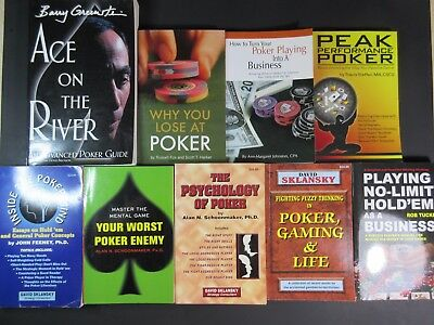 Lot of 9 Poker Books Instructional Gambling Casino Greenstein Sklansky Feeney