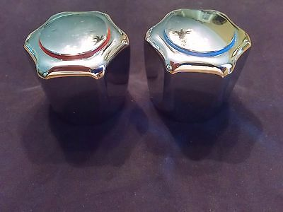 NEW  Set of Chrome Metal Hot and Cold Faucet Handle Knobs  -  079014-C