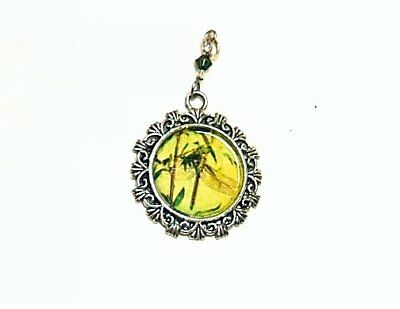 Dragonfly Sitting On Reeds Vintage Image Altered Art Pendant Charm With Crystal