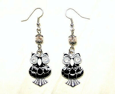 Black And White Enameled Night Owl Charms Silver Plated Earrings Halloween