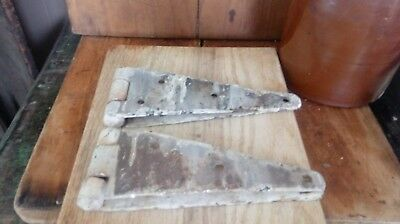 Pair Antique Vintage Salvage Iron with Old Paint Barn Door Gate Straps Hinges