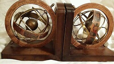 Vintage BOOKENDS - Old World Globes - Italy