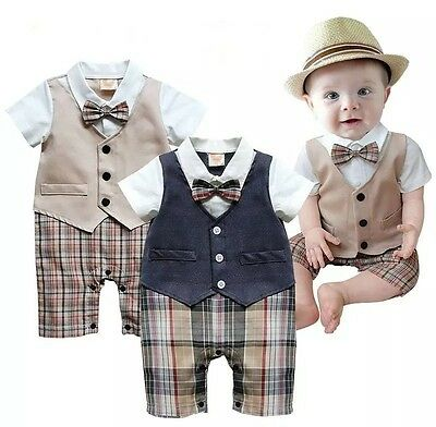 Newborn Kid Baby Boy Infant Outfits Jumpsuit Romper Bodysuit Gentleman Formal