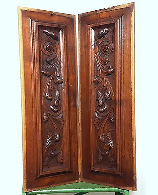 HAND CARVED WOOD PANEL MATCHED PAIR ANTIQUE FRENCH FLOWER SALVAGED PANELING 19th
