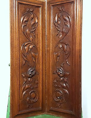 HAND CARVED WOOD PANEL MATCHED PAIR ANTIQUE FRENCH FLOWER SALVAGED ORNAMENT 19th
