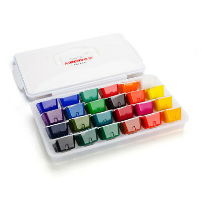 24 Portable Color Gouache Paint Set Unique Jelly Cup Design with Individual Pan