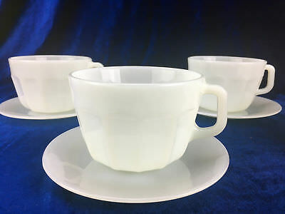 Set of 4 Tea Cup And Saucer Duo By Rigolleau Industria Argentina White Glass