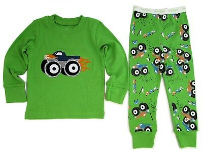 Boys Monster Truck Embroidery Long Sleeve 2 Pc Cotton Pajamas Set ~ Ages 3 to 7