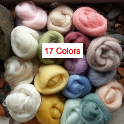 Retro Lot of 17 Colors Wool Fibre Roving For Needle Felting Hand Spinning