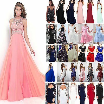 Women Lace Formal Dress Evening Ball Gown Party Cocktail Prom Bridesmaid Dresses