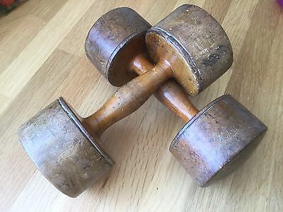 Vintage Salter Gymnastic Wooden Hand Weights Dumbells. Plus Instructions!