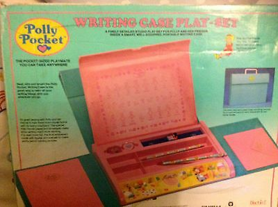 Vintage Polly Pocket Writing Case Play Set Boxed Figures Complete & 4 Envelopes