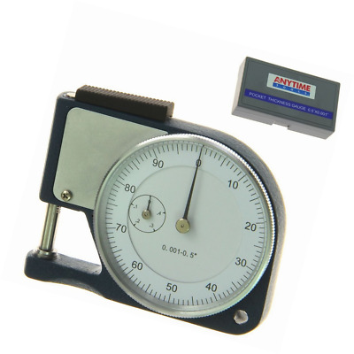 """Anytime Tools Pocket Thickness Micrometer 0.5""""/0.001"""" Portable Quick Measure Pap"""