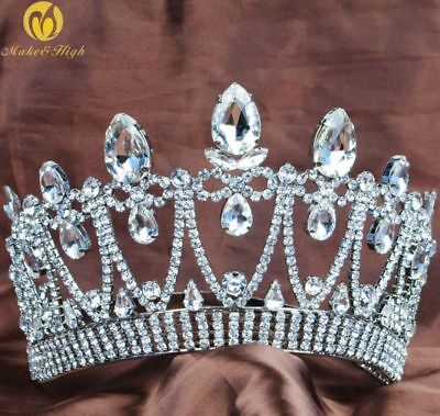 Miss Beauty Pageant Tiara Wedding Crown Crystal Rhinestone Bridal Headband Party