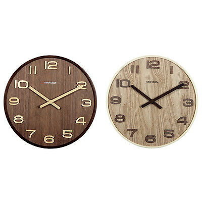 Vintage Non Ticking Digital Round Wood Silent Wall Clock Large Art Home Decor
